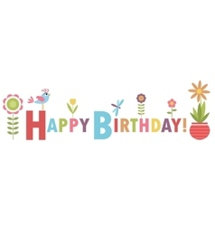 Birthday card with flowers and bird vector image vector image