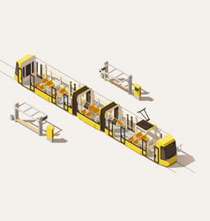 isometric low poly low-floor tram vector image vector image