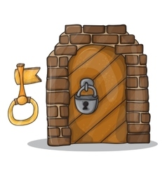 key and door of the castle - vector image vector image