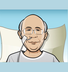 patient with breathing tube vector image vector image