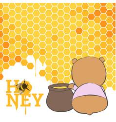 Postcard with a bear and honey vector