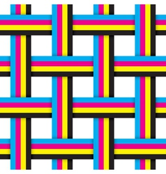 Seamless pattern with intersecting cmyk ribbons vector image vector image