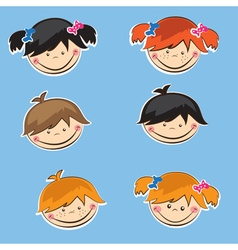 Set of cute boys and girls sticers vector