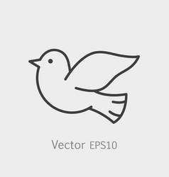 symbol of peace dove thin line icon stroke vector image vector image