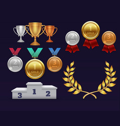 trophy awards gold cup and golden laurel wreath vector image