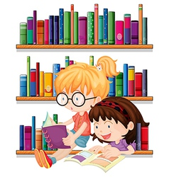 Two friends reading vector image vector image
