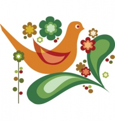bird with flower vector image vector image