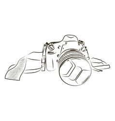 Black camera sketch on a white background vector image
