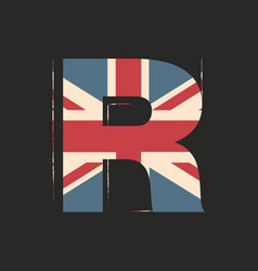 Capital 3d letter r with uk flag texture isolated vector