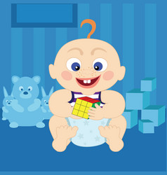 cartoon cute baby with rubiks cube vector image vector image
