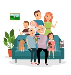Family on sofa vector image