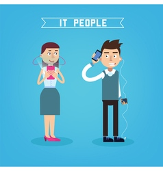 IT People Man with Phone Woman with Smart Phone vector image vector image