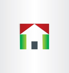 red and green house icon vector image