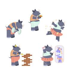 set of cute rhinoceros vector image