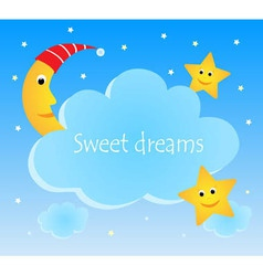Cute card with funny moon and stars vector image vector image