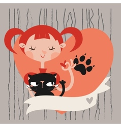 Girl with her cat template vector image vector image