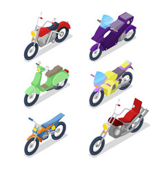 isometric motorcycle set with motocross vector image vector image