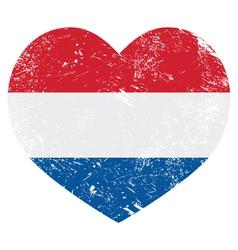 Netherlands Holland heart retro flag vector image