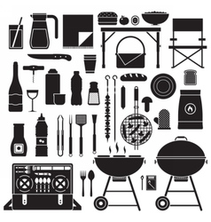 Picnic and Barbeque Outline Elements vector image