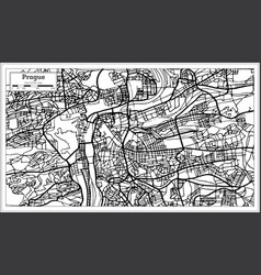 prague chezh republic map in black and white color vector image