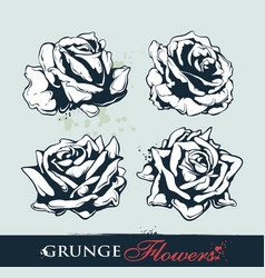 set of grungy roses vector image vector image