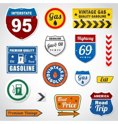 Set of vintage gasoline retro signs and labels vector image