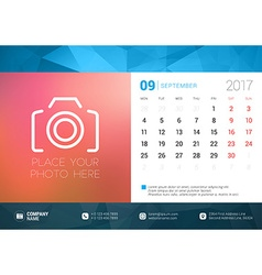Desk calendar template for 2017 year september vector