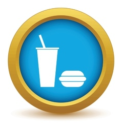 Gold burger with a drink icon vector image