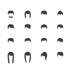 hair silhouettes woman and man hairstyle vector image vector image