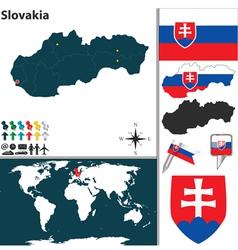 Slovakia map world vector image vector image