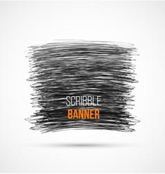 Abstract black hand-drawn scribble banner vector image