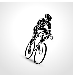Abstract silhouette bicyclist black bike vector