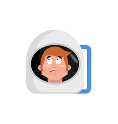 astronaut surprised emoji cosmonaut amazement vector image