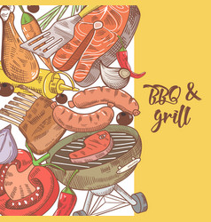 barbecue and grill hand drawn design with meat vector image