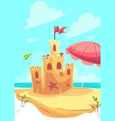 Bright cute sand castle vector