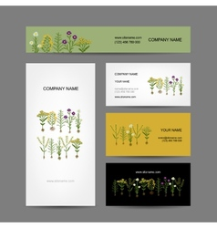 Business cards collection design herbarium plants vector