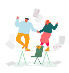 business colleagues dancing on table rejoice vector image