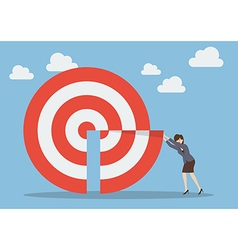 Business woman pushing missing piece in big target vector