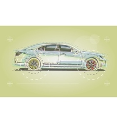 Car drawn for the business booklet vector image