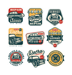 Car service and repair vintage style labels set vector
