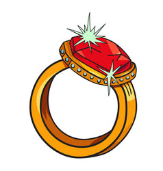 Cartoon image of diamond ring vector