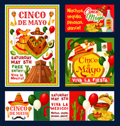 Cinco de mayo mexican fiesta invitations vector