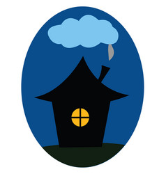 Clipart a house at night over blue background vector