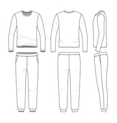 Clothing set of long sleeved shirt and sweatpants vector