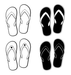 collection of flip flops icons vector image