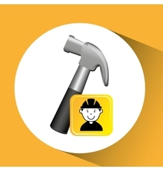 Construction worker hammer graphic vector