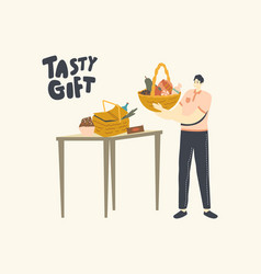 courier holding tasty gift in basket for vector image