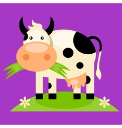 Cute baby cow cartoon vector image
