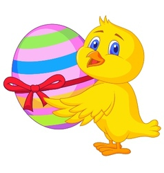 Cute chicken cartoon with easter egg vector image vector image
