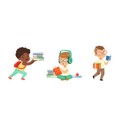cute little kids with pile books studying and vector image